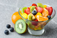 Fruit salad in crystal bowl Royalty Free Stock Photos