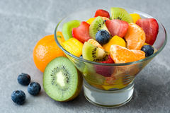 Fruit salad in crystal bowl Royalty Free Stock Photo