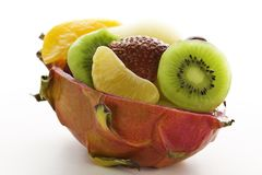 Fruit salad in a cuted pitahaya Royalty Free Stock Images