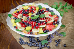 Fruit Salad - Delicious Fruit Salad With Various Fresh Fruit In White Plate Royalty Free Stock Photos