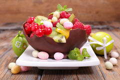 Fruit salad and easter egg Royalty Free Stock Image