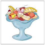 Fruit salad with food, books, Royalty Free Stock Photos