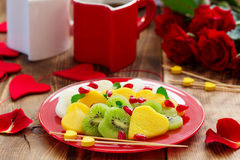 Fruit salad in the form of hearts Royalty Free Stock Photography