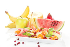Fruit salad and fresh fruits. Stock Images