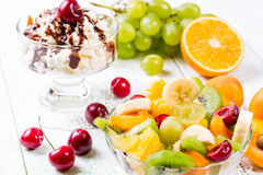 Fruit-salad. Salad of fresh ripe fruits and berries Royalty Free Stock Photography