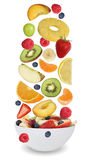 Fruit salad with fruits like apples, oranges, banana and strawbe Royalty Free Stock Image