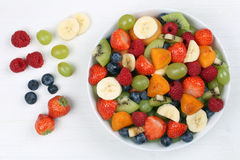 Fruit salad with fruits like strawberries, blueberries and apric Royalty Free Stock Photo