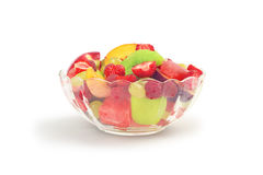 Fruit salad in glass bowl Royalty Free Stock Image
