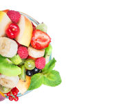 fruit salad in glass bowl Stock Images