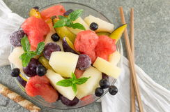 Fruit salad in a glass bowl Royalty Free Stock Photos