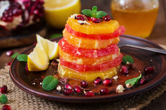 Fruit salad with grapefruit and orange Stock Photo