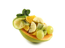 Fruit salad in half of papaya Stock Photography