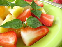 Fruit salad with honey melon sage Stock Photos