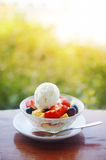 Fruit salad with ice cream Stock Photo