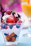 Fruit salad with ice cream Royalty Free Stock Image