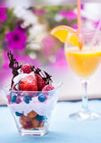 Fruit salad with ice cream Royalty Free Stock Photography