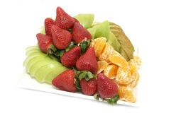 Fruit salad and ice cream Stock Photography