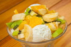 Fruit salad with icecream Stock Photo