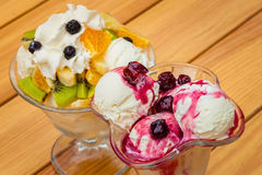 Fruit salad with icecream Royalty Free Stock Image