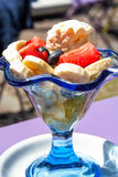 Fruit salad and icecream Royalty Free Stock Photography