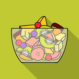 Fruit salad icon in flat style isolated on white background. Sport and fitness symbol stock vector illustration. Stock Image