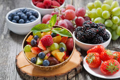 Free Fruit Salad In A Bamboo Bowl And Fresh Berries Royalty Free Stock Image - 55795606