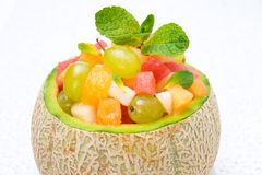 Fruit Salad In Melon Close-up, Horizontal Stock Image
