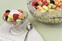 Fruit Salad Individual and Bowl Royalty Free Stock Images
