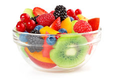 Fruit salad isolated on white Stock Photo