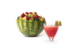 Fruit salad and juice from watermelon. Stock Photo