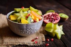 Fruit salad with kiwi, mango, mandarin, carambola and pomegranate Royalty Free Stock Images