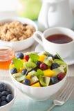 Fruit salad with mango kiwi blueberry for breakfast Stock Image