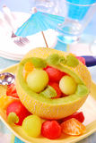 Fruit salad in melon Royalty Free Stock Image