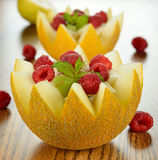 Fruit salad in melon Royalty Free Stock Photo