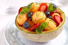 Fruit salad with melon Stock Photo