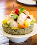 Fruit salad with melon and watermelon balls in cantaloupe Stock Photography