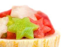 Fruit salad with melon, watermelon and kiwi Stock Photos