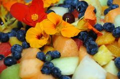 Fruit salad with nasturtium petals royalty free stock images