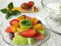Fruit salad with natural yogurt Royalty Free Stock Image