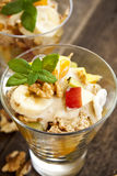 Fruit salad with nuts Royalty Free Stock Image