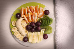 Fruit salad oranges and grapes Royalty Free Stock Photos