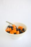 Fruit Salad Papaya and BlueBerry Stock Photo