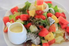 Fruit salad. `The perfect fruit salad for a backyard bbq or any occasion. There are never leftovers! This is one of my favorite fruit salad recipes Stock Photos