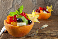 Fruit salad portions stock photo