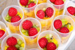 Fruit salad in push up cake forms Stock Photo