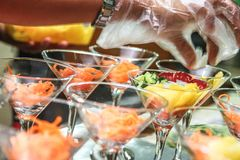 Fruit Salad Served On Wine Glass royalty free stock photos