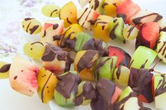 Fruit salad skewers Royalty Free Stock Image