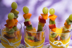 Fruit salad skewers Stock Photography