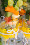 Fruit salad skewers Stock Image