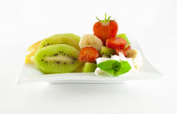 Fruit salad on a square dish Royalty Free Stock Photo